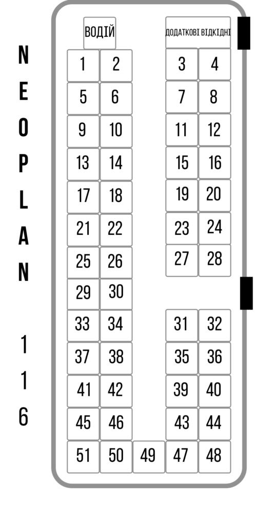 Neoplan 116, 51 мiсце. (Кондицiонер, TV, DVD, зручнi сидiння, автобус Єврокласу.)Проїзд на море