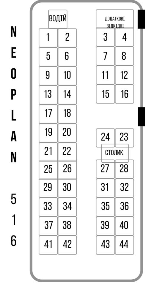 Neoplan 516, 51 мiсце. (Кондицiонер, TV, DVD, зручнi сидiння, автобус Єврокласу.)Проїзд на море